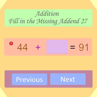 Addition Fill in the Missing Addend 27 Addition Fill in the Missing Addend 27