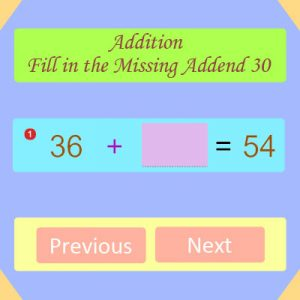 Addition Fill in the Missing Addend 30 Addition Fill in the Missing Addend 30