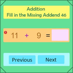 Addition Fill in the Missing Addend 46 Addition Fill in the Missing Addend 46