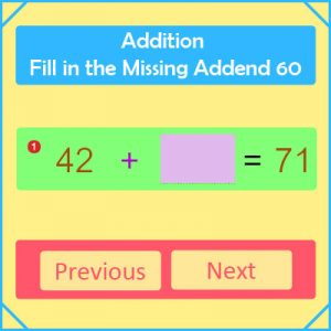 Addition Fill in the Missing Addend 60