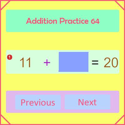 Addition Practice Activity 64 Addition Practice Activity 64
