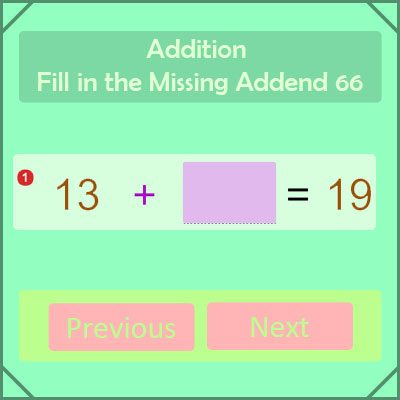 Addition Fill in the Missing Addend 66