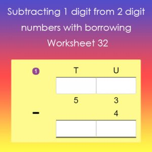 Key Stage One Subtract 1 digit from 2 digit with borrowing Worksheet 32