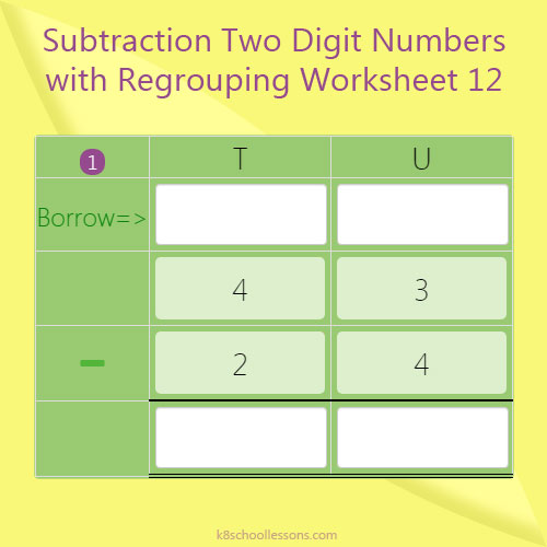 Subtraction Two Digit Numbers with Regrouping Worksheet 12