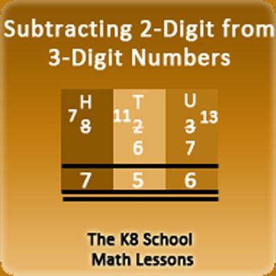 Subtracting 2-digit numbers with borrowing method