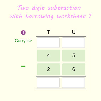 two digit subtraction with regrouping worksheet 1 year 2 math worksheets. Black Bedroom Furniture Sets. Home Design Ideas