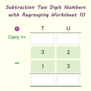 Key Stage One Subtraction Two Digit Numbers with Regrouping Worksheet 10