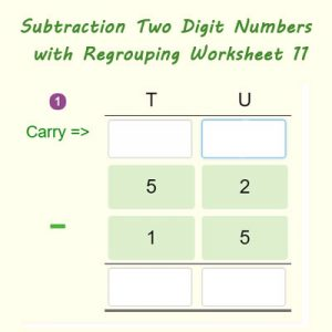 Key Stage One Subtraction Two Digit Numbers with Regrouping Worksheet 11