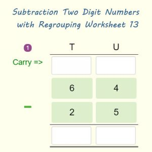 Key Stage One Subtraction Two Digit Numbers with Borrowing Worksheet 13