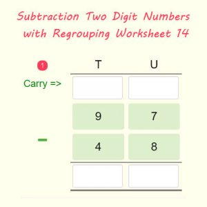 Key Stage One Subtraction Two Digit Numbers with Regrouping Worksheet 14