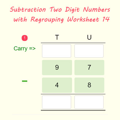 Subtraction Two Digit Numbers with Regrouping Worksheet 14