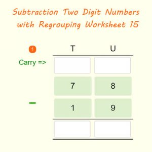 Subtraction Two Digit Numbers with Borrowing Worksheet 15 Subtraction Two Digit Numbers with Borrowing Worksheet 15