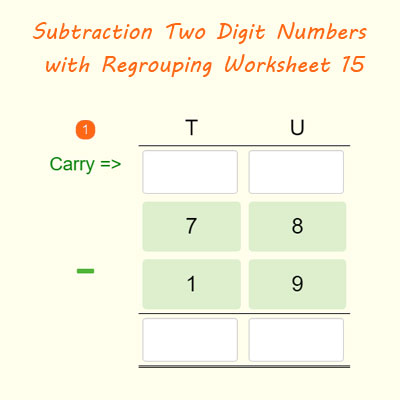 subtraction two digit numbers with regrouping worksheet 15 maths. Black Bedroom Furniture Sets. Home Design Ideas