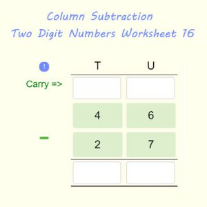 Column Subtraction Two Digit Numbers Worksheet 16 Column Subtraction Two Digit Numbers Worksheet 16