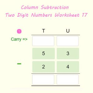 Column Subtraction Two Digit Numbers Worksheet 17 Column Subtraction Two Digit Numbers Worksheet 17