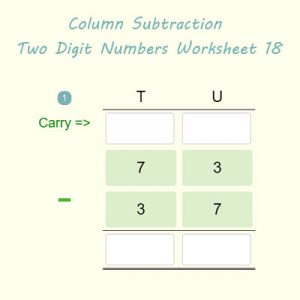 Column Subtraction Two Digit Numbers Worksheet 18 Column Subtraction Two Digit Numbers Worksheet 18