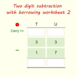 Two digit subtraction with regrouping worksheet 2 Two digit subtraction with regrouping worksheet 2