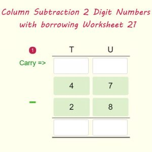 Column Subtraction 2 Digit Numbers with borrowing Worksheet 21 Column Subtraction 2 Digit Numbers with borrowing Worksheet 21