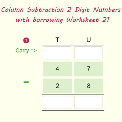 Column Subtraction 2 Digit Numbers with borrowing Worksheet 21