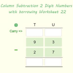 Column Subtraction 2 Digit Numbers with regrouping Worksheet 22 Column Subtraction 2 Digit Numbers with regrouping Worksheet 22