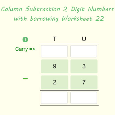 Column Subtraction 2 Digit Numbers with regrouping Worksheet 22