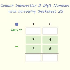 Column Subtraction 2 Digit Numbers with regrouping Worksheet 23 Column Subtraction 2 Digit Numbers with regrouping Worksheet 23