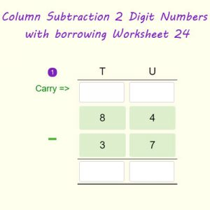 Column Subtraction 2 Digit Numbers with regrouping Worksheet 24 Column Subtraction 2 Digit Numbers with regrouping Worksheet 24