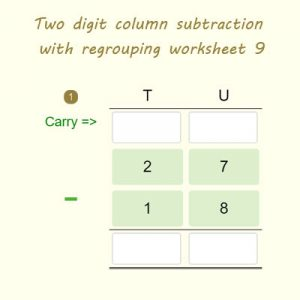 Two digit column subtraction with regrouping worksheet 9 Two digit column subtraction with regrouping worksheet 9