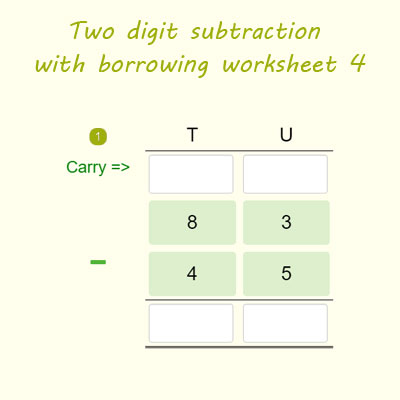 Two digit subtraction with borrowing worksheet 4