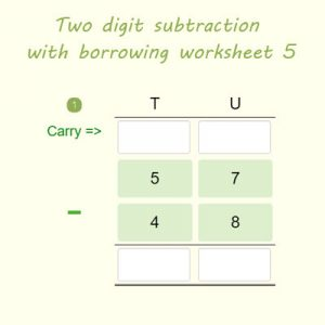 Two digit subtraction with borrowing worksheet 5 Two digit subtraction with borrowing worksheet 5