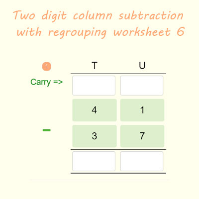 Two digit subtraction with borrowing worksheet 6