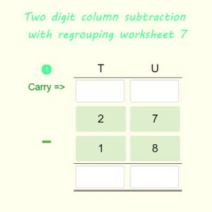 Two digit column subtraction with regrouping worksheet 7 Two digit column subtraction with regrouping worksheet 7