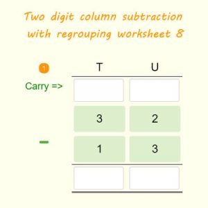 Two digit column subtraction with regrouping worksheet 8 Two digit column subtraction with regrouping worksheet 8