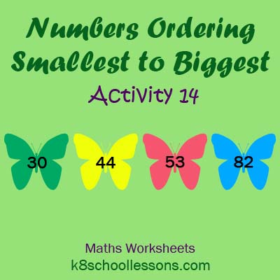 Numbers Ordering Smallest to Biggest Activity 14