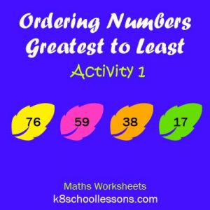 Ordering Numbers Greatest to Least Activity 1 Ordering Numbers Greatest to Least Activity 1