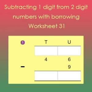 Subtracting 1 digit from 2 digit with borrowing 31 Worksheet Subtracting 1 digit from 2 digit with borrowing 31 Worksheet