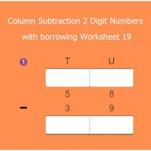 Column Subtraction 2 Digit Numbers with borrowing Worksheet 19