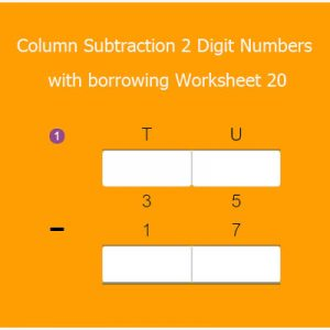 Column Subtraction 2 Digit Numbers with borrowing Worksheet 20