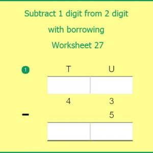 Subtract 1 digit from 2 digit with borrowing Worksheet 27