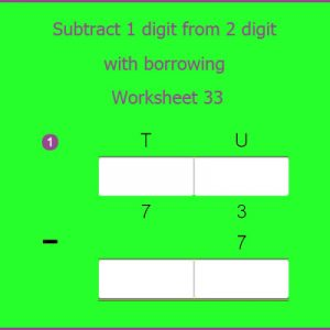 Subtract 1 digit from 2 digit with borrowing Worksheet 33