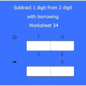 Subtraction 1-digit from 2-digit with borrowing worksheet 34