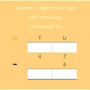 Subtract 1 digit from 2 digit with borrowing Worksheet 36 Subtract 1 digit from 2 digit with borrowing Worksheet 36