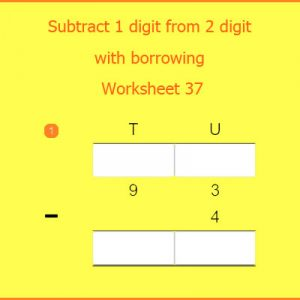 Subtract 1 digit from 2 digit with borrowing Worksheet 37