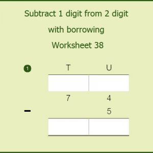 Subtract 1 digit from 2 digit with borrowing Worksheet 38