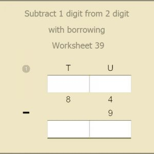 Subtract 1 digit from 2 digit with borrowing Worksheet 39
