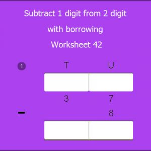 Subtract 1 digit from 2 digit with borrowing Worksheet 42
