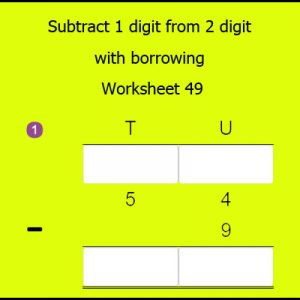 Subtract 1 digit from 2 digit with borrowing Worksheet 49