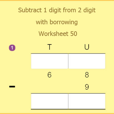 Subtract 1 digit from 2 digit with borrowing Worksheet 50