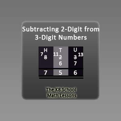 Subtraction 3-digit take away 2-digit with Regrouping Subtraction 3-digit take away 2-digit with Regrouping