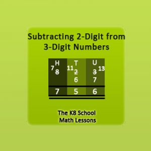 Key Stage Two Subtraction 3-digit take away 2-digit with borrowing method